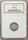 Bust Dimes, 1830 10C Medium 10C, JR-8, R.3, MS64 NGC....