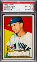 Baseball Cards:Singles (1950-1959), 1952 Topps Johnny Sain (Correct Bio, Red Back) #49 PSA NM-MT+ 8.5....