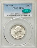 Washington Quarters, 1936-D 25C MS66 PCGS. CAC. PCGS Population (149/19). NGC Census:(63/13). Mintage: 5,374,000. Numismedia Wsl. Price for pro...