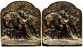 Books:Furniture & Accessories, [Bookends]. Pair of Matching Cast Iron Bookends Depicting Knightwith Maiden and Horse. Hubley, Circa 1925.... (Total: 2 Items)