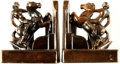 Books:Furniture & Accessories, [Bookends]. Pair of Matching Metal Bookends Depicting Nude onRearing Horse. Unsigned, Circa 1940.... (Total: 2 Items)