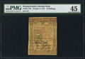 Colonial Notes:Pennsylvania, Pennsylvania October 1, 1773 50s PMG Choice Extremely Fine 45.. ...