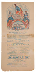 Political:Small Paper (pre-1896), Abraham Lincoln: Large Multicolor Massachusetts Ballot....
