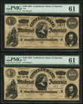 Confederate Notes:1864 Issues, T65 $100 1864 PF-2 Cr. 493, Two Consecutive Examples.. ... (Total: 2 notes)