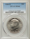 Kennedy Half Dollars, 1984-D 50C MS66 PCGS. PCGS Population (109/13). NGC Census: (52/9). Mintage: 26,262,158. Numismedia Wsl. Price for problem ...