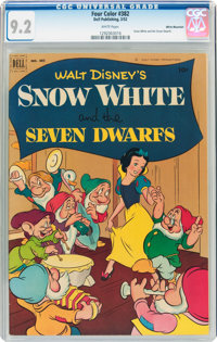 Four Color #382 Snow White and the Seven Dwarfs - White Mountain Pedigree (Dell, 1952) CGC NM- 9.2 White pages