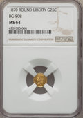 California Fractional Gold : , 1870 25C Liberty Round 25 Cents, BG-808, R.3, MS64 NGC. NGC Census: (13/26). PCGS Population (66/68). ...