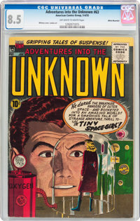Adventures Into The Unknown #63 White Mountain Pedigree (ACG, 1955) CGC VF+ 8.5 Off-white to white pages