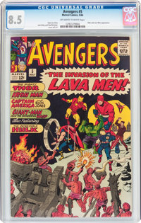 The Avengers #5 (Marvel, 1964) CGC VF+ 8.5 Off-white to white pages