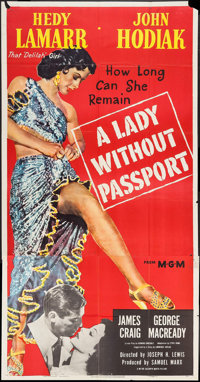 "A Lady without Passport (MGM, 1950). Three Sheet (41"" X 79""). Film Noir"
