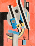 Fine Art - Work on Paper:Watercolor, Fernand Léger (1881-1955). Composition, 1925. Watercolor onpaper. 14 x 10-3/4 inches (35.6 x 27.3 cm) (sheet). Initiale...