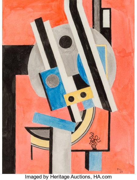 Fernand Léger (1881-1955)Composition, 1925Watercolor on paper14 x 10-3/4 inches (35.6 x 27.3 cm) (sheet)Initiale...
