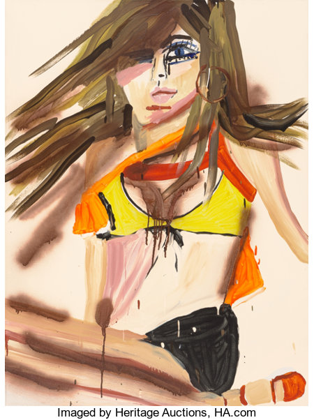 Katherine Bernhardt (b. 1975) Modern Girl, 2001 Acrylic on canvas 48 x 36 inches (121.9 x 91.4 cm) Signed, titled, a...