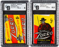 "Non-Sport Cards:Unopened Packs/Display Boxes, 1958 Topps ""Zorro"" 1-Cent and 5-Cent GAI Graded Wax Packs Pair. ..."