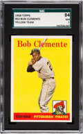 Baseball Cards:Singles (1950-1959), 1958 Topps Roberto Clemente, Yellow Team #52 SGC 84 NM 7....