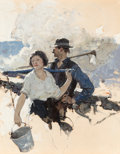 Fine Art - Painting, American:Modern  (1900 1949)  , Dean Cornwell (American, 1892-1960). Farming Couple, GoodHousekeeping interior illustration. Oil on board laid onpanel...