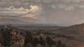 Paintings, Elihu Vedder (American, 1836-1923). Umbrian Landscape, Italy. Oil on canvas laid on masonite. 6-3/4 x 11-5/8 inches (17....