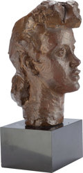 Fine Art - Sculpture, American:Contemporary (1950 to present), Jacques Lipchitz (French/American, 1891-1973). Portrait ofBarbara Reis Poe II, 1941. Bronze with brown patina. 13inche...