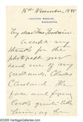 """Autographs:Celebrities, Rose Cleveland: An Uncommon Autograph Letter From the """"Executive Mansion."""" Autograph Letter Signed (in full: """"Rose Elizabeth..."""