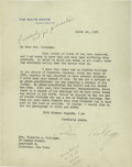 """Autographs:U.S. Presidents, Calvin Coolidge Letter as President: a Genealogy of Himself -Marked """"Personal Not for Publication""""! Typed Letter Signed,"""