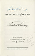 """Autographs:U.S. Presidents, Herbert Hoover Printed Speech Signed. Signed, in turquoise ink, on the cover of his speech entitled """"The Protection of Fre..."""