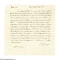 "Autographs:U.S. Presidents, Thomas Jefferson Autograph Letter Signed ""Th: Jefferson.""One page, 7.25"" x 7"", Monticello, Virginia, August 27th, 180..."