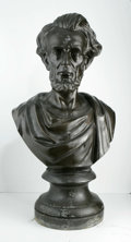 Antiques:Decorative Americana, Abraham Lincoln Massive Bronze-Finish Bust; A Unique Image. Perhaps the largest Lincoln metal bust we have ever encountere...