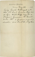 "Autographs:U.S. Presidents, Abraham Lincoln Autograph Letter. One page, 5"" x 8"", Executive Mansion letterhead, Washington D.C., May 28th, 1863. The le..."