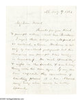 Autographs:U.S. Presidents, Abraham Lincoln Autograph Endorsement Signed on the verso of aletter to Charles Sumner about General Burham (three pages, 6...