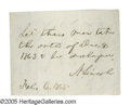 "Autographs:U.S. Presidents, Abraham Lincoln Prisoner Release Autograph Endorsement Signed ""ALincoln"" on the back of a document 3.125"" x 2.375"", np,..."