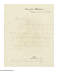 "Autographs:U.S. Presidents, Abraham Lincoln (1809-1865), President, Letter Signed ""A. Lincoln"" as President, one page on Executive Mansion letterhea..."