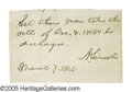 """Autographs:U.S. Presidents, Abraham Lincoln Autograph Endorsement Signed """"A. Lincoln."""" The endorsement is on a clipped piece of lined paper from a l..."""