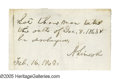 "Autographs:U.S. Presidents, Abraham Lincoln Prisoner Release Autograph Endorsement Signed ""ALincoln"" on the verso of a document 3.75"" x 2.25"", np, ..."