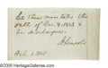 "Autographs:U.S. Presidents, Abraham Lincoln Prisoner Release Autograph Endorsement Signed ""ALincoln"" on the verso of a lined sheet 3.75"" x 2"", np, ..."