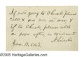 "Autographs:U.S. Presidents, Abraham Lincoln Autograph Note Signed ""A Lincoln"" to SenatorJacob Collamer (of Vermont). Card, 3.25"" x 2"", np, January ..."