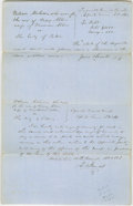 """Autographs:U.S. Presidents, Abraham Lincoln. Autograph Document Signed """"James & Lincolnp.q."""" Tazewell Co. (Ill.), April 1851, one-quarter page, fol..."""