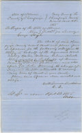 "Autographs:U.S. Presidents, Manuscript Document, signed in an unknown hand ""Swett, Lawrence, Lincoln & Lamon D.Q."" Champaign Co., Ill., May 1855, three-..."
