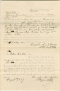 "Autographs:U.S. Presidents, Lincoln Partly Printed Document, signed twice in an unknown hand""Lincoln, Linn & Sheldon / Attys for plff"". Champaign Co., ..."