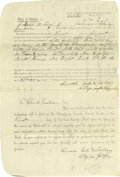 "Autographs:U.S. Presidents, Lincoln Partly Printed Document, signed twice in an unknown hand""Lincoln, Coles & Sheldon / Attys for plff"". Champaign Co.,..."