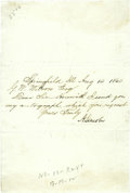 "Autographs:U.S. Presidents, Abraham Lincoln, Candidate for President, Sends His Autograph. Letter Signed ""A. Lincoln"", 1 page, 7.5"" x 5.25"", Springf..."