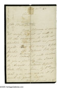 "Autographs:Celebrities, Mary Todd Lincoln Autograph Letter Signed ""M.L."" One page, 4.8"" x 7.4"", mourning paper, Chicago, October 20, 1865. Writt..."