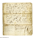 """Autographs:Statesmen, Benjamin Lincoln Signs a Document Running a Woman Out of Town! Document Signed (""""Benjamin Lincoln, Jun.""""), as Selectman, 1 p..."""