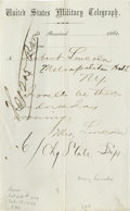 """Autographs:Celebrities, (Mary Lincoln) Manuscript Letter in an unknown hand on UnitedStates Military Telegraph letterhead, one page, 5"""" x 8"""", [Wash..."""