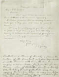 Autographs:Celebrities, [Abraham Lincoln] Joshua Fry Speed: Extremely Scarce Autograph Letter of Lincoln's Most Intimate Friend -- Mentioning Lincoln!...