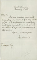 "Autographs:Statesmen, Senator Ira Harris, A Close Friend of Lincoln's, Sends HisAutograph. Autograph Letter Signed, 1 page, 5.5"" by 9"", SenateCh..."