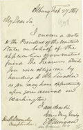 Autographs:Statesmen, [Abraham Lincoln] Edwin D. Morgan: Letter of the Lincoln CabinetAppointee Who Wouldn't Serve Autograph Letter Signed as Gov...