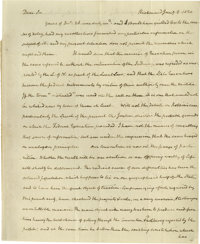 "A fine James Madison Autograph Letter Signed. Written at Richmond, VA. Jan. 8, 1830. 7.50"" x 9.50"", very fine..."