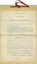 Autographs:U.S. Presidents, William McKinley Signs An Official Arbor Day Proclamation as Ohio Governor. Original typed 1892 document, signed by McKinley...