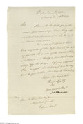 "Autographs:U.S. Presidents, James Monroe Autograph Letter Signed, as Secretary of War, ""Jas.Monroe."" 1 page, 7.5"" x 12"", Department of War, Nov..."