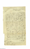 "Autographs:U.S. Presidents, James Monroe (1758-1831) President, Letter Signed ""Jas Monroe"" as Secretary of State, two pages, 7.75"" x 13.25"", [Washin..."
